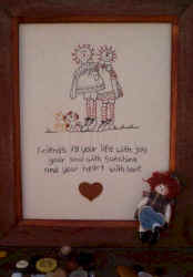friends fill your heart with love stitchery and doll pattern