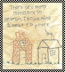 Many mansions in heaven primitive inspirational stitchery