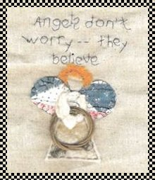 angels don't worry stitchery pattern
