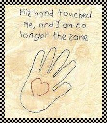 His hand touched me primitive inspirational stitchery