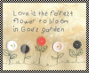 God's garden primitive stitchery with buttons
