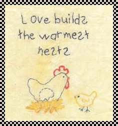 love builds the warmest nests stitchery pattern