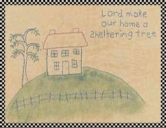 Our home is a sheltering tree stitchery pattern